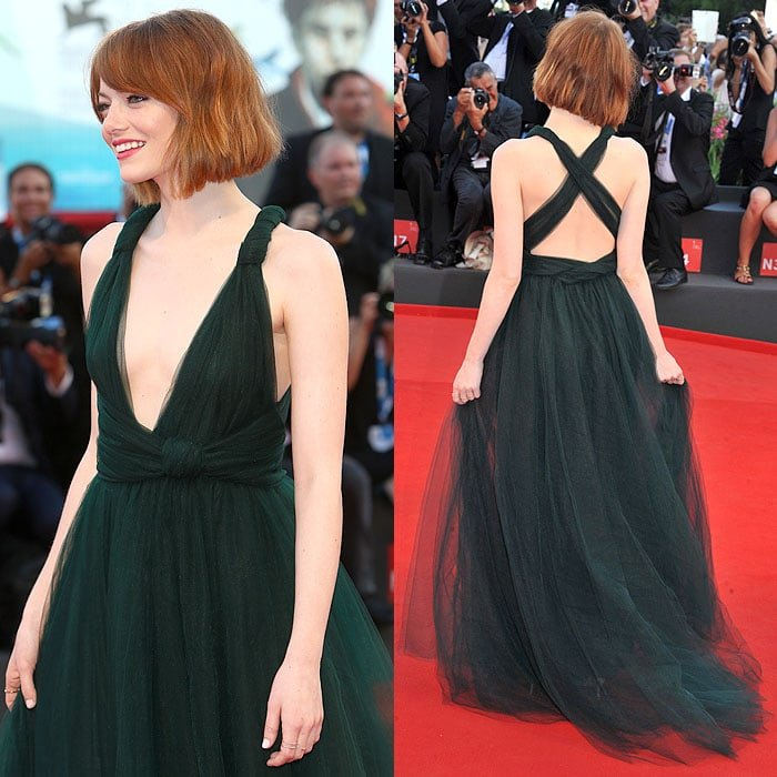 More angles of Emma Stone's new hairdo and Valentino fall 2014 couture tulle gown