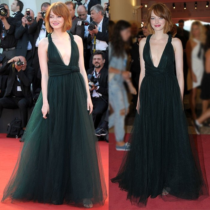 Jimmy Choo Xenia sandals peeking out from the hem of Emma Stone's gown