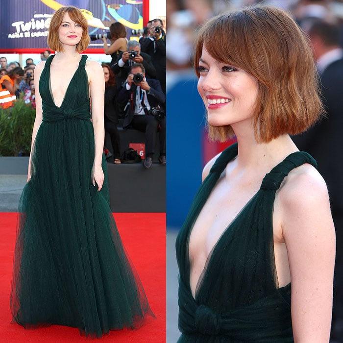 Emma Stone at the 'Birdman' premiere held during the opening ceremony for the 2014 Venice Film Festival in Venice, Italy, on August 27, 2014