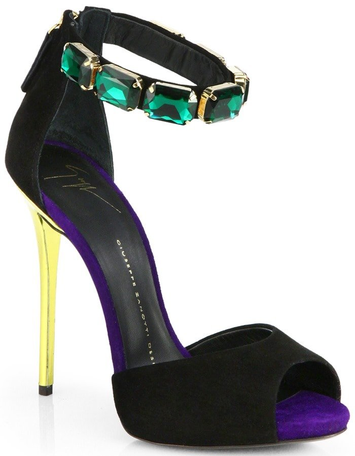 Giuseppe Zanotti Multicolor Suede Jeweled Ankle Strap Sandals