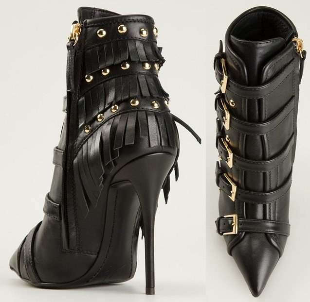They feature fringe details, gold-tone studs along the heel counters, and multiple side-buckle fastenings