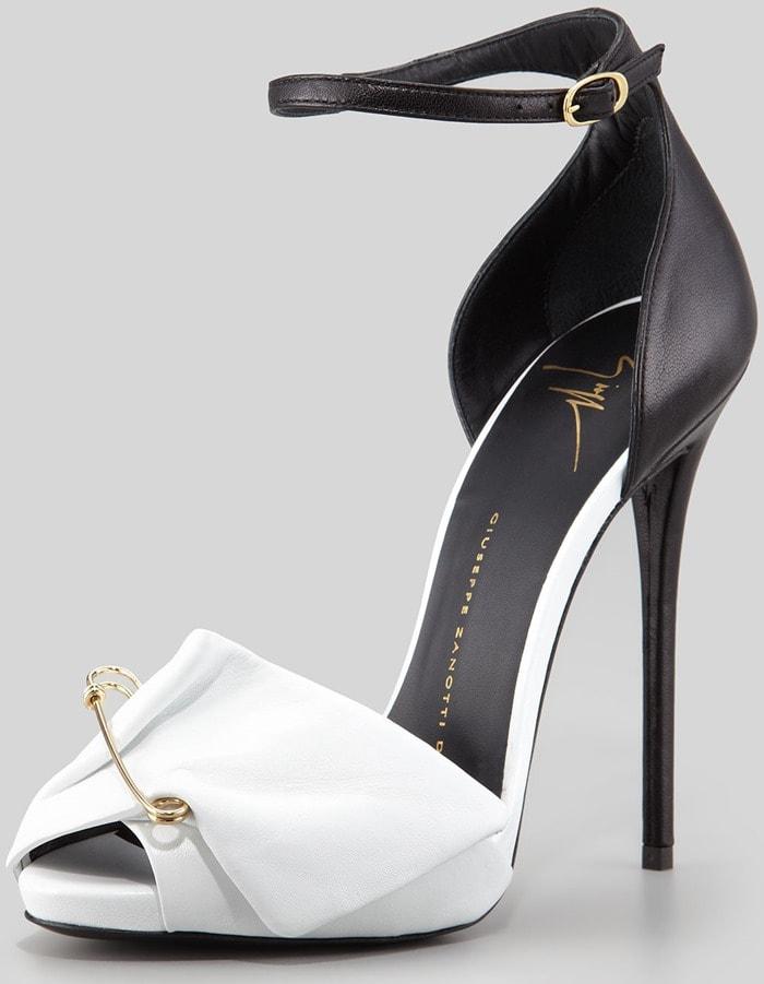Giuseppe Zanotti White Safety Pin Leather Sandal
