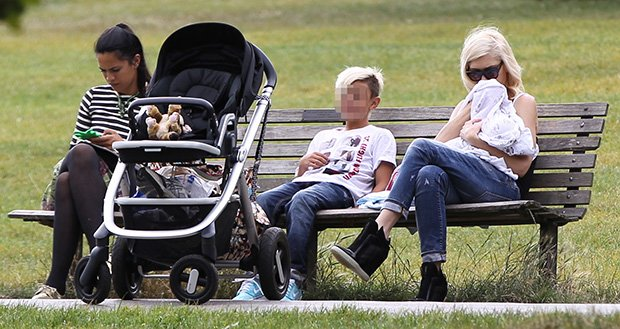 Gwen Stefani and family at a park in London, England, on August 2, 2014