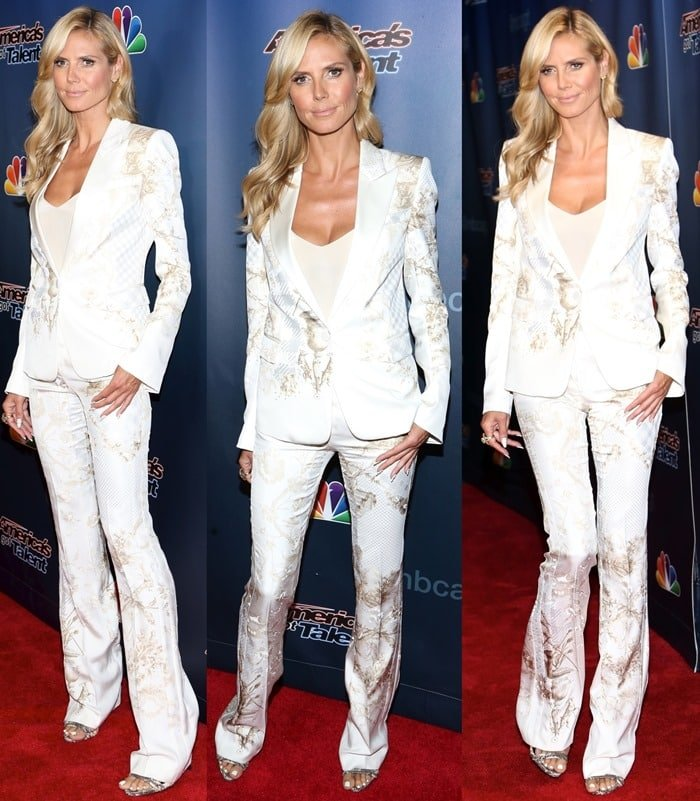 Heidi Klum donned a satin suit from the Roberto Cavalli Resort 2015 collection