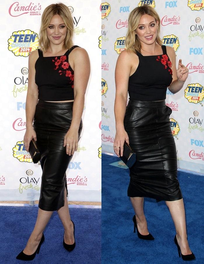 Hilary Duffin a black ASOS leather calf-length skirt