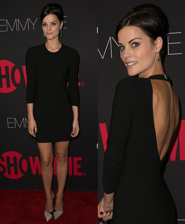 Jaimie Alexander wearing an Iro dress at Showtime's 2014 Emmy Eve Soiree at the Sunset Tower Hotel on August 24, 2014