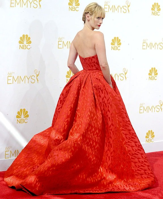 January Joneswearingthe biggest ball gown at the 2014 Emmy Awards