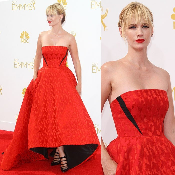 January Jonesat the66th Primetime Emmy Awards held at the Nokia Theatre L.A. Live in Los Angeles, California, on August 25, 2014