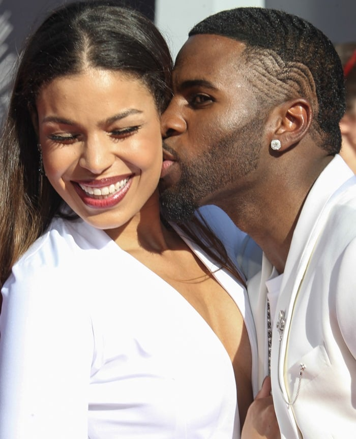 Jordin Sparks and Jason Derulo at the 2014 MTV Video Music Awards at The Forum in Inglewood, California, on August 24, 2014