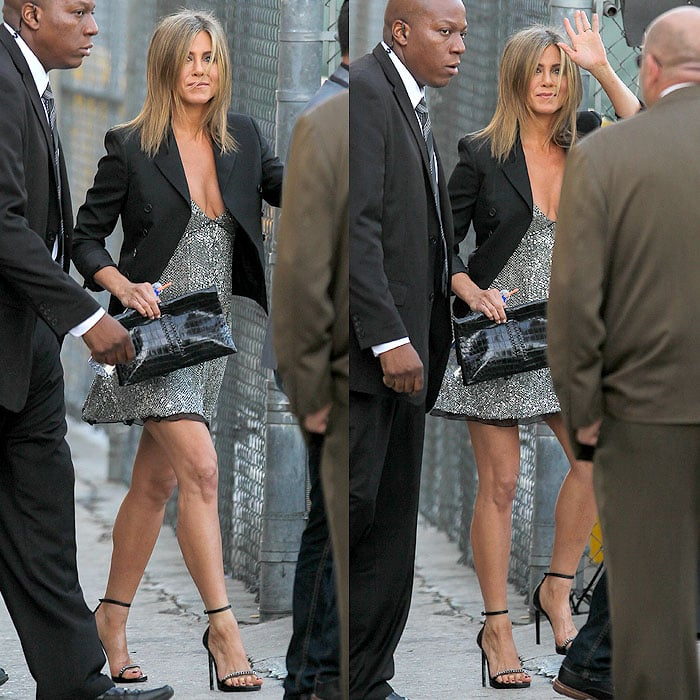 Jennifer Aniston leavingtheJimmy Kimmel Live!studios to head to theLife of Crime premiere at the ArcLight Cinemas in Hollywood, California, on August 27, 2014