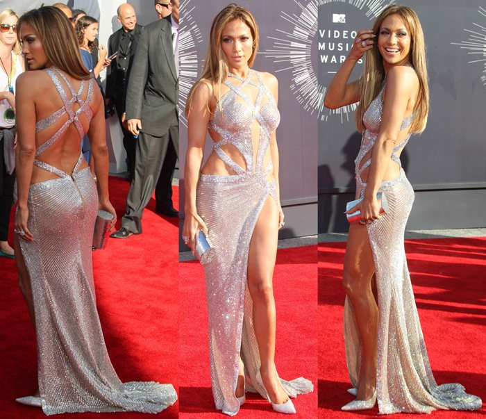 """Jennifer Lopez styled the silver sequin embellished dress with a silver python Thalé Blanc """"Talia Fastueux"""" mini clutch, Norman Silverman jewelry, and metallic white Jimmy Choo """"Tartini"""" pumps"""