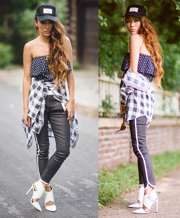 Jessica in a tube top under a checkered shirt, two-tone pants, and white pointed-toe pumps