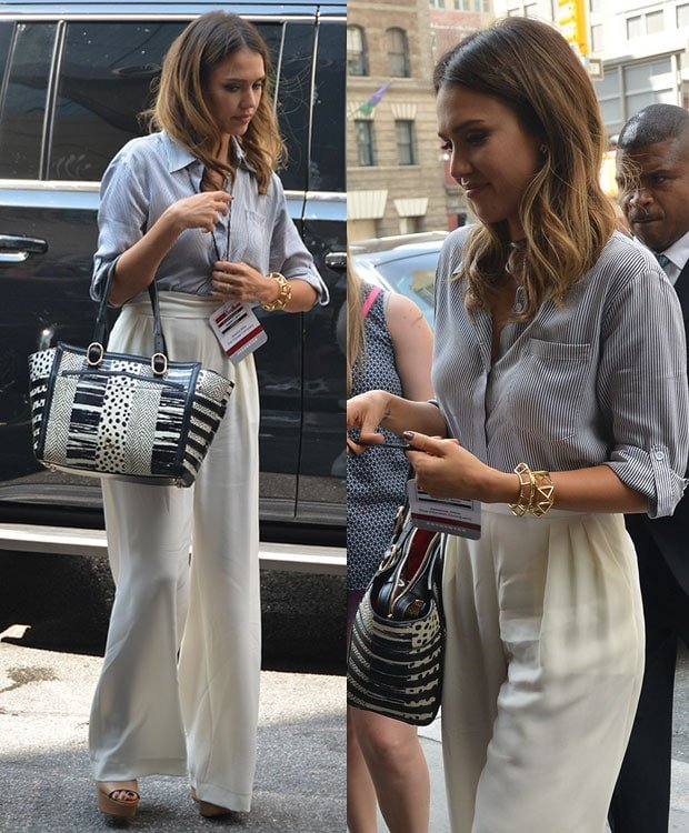 Jessica Alba styled the outfit with a few golden cuffs by Jennifer Fisher, carried the same Christian Louboutin tote, and completed the ensemble with a pair of platform wedges