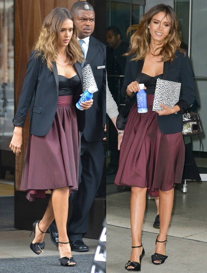 Jessica Alba donned a high-waist burgundy skirt from the Katharine Kidd Fall 2014 collection