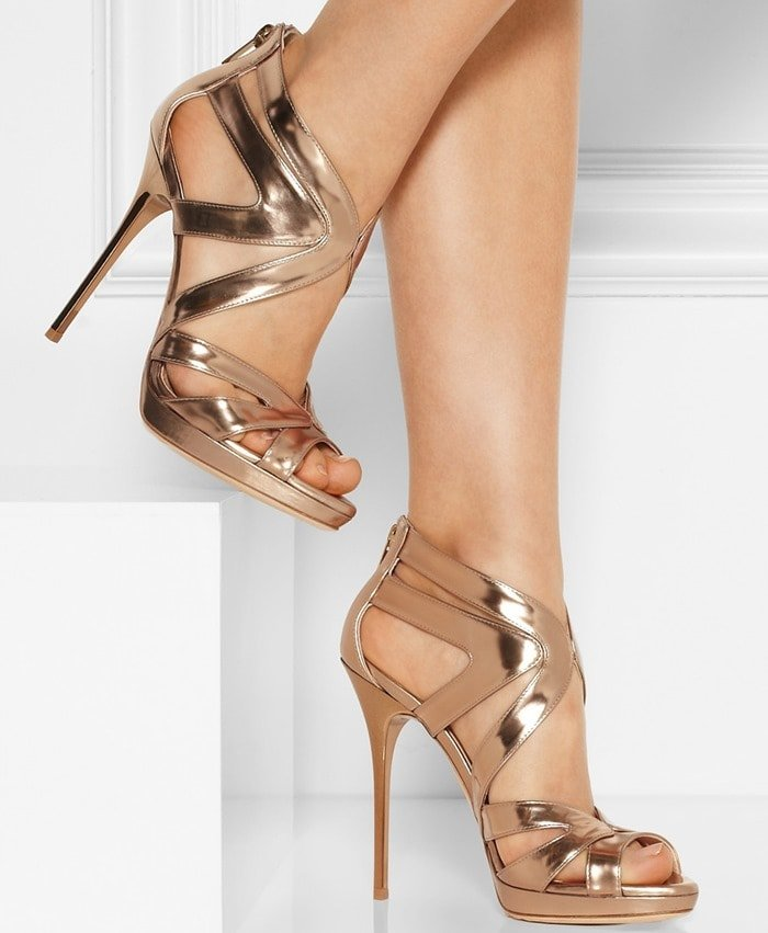 """Jimmy Choo """"Collar"""" Mirrored-Leather Sandals"""