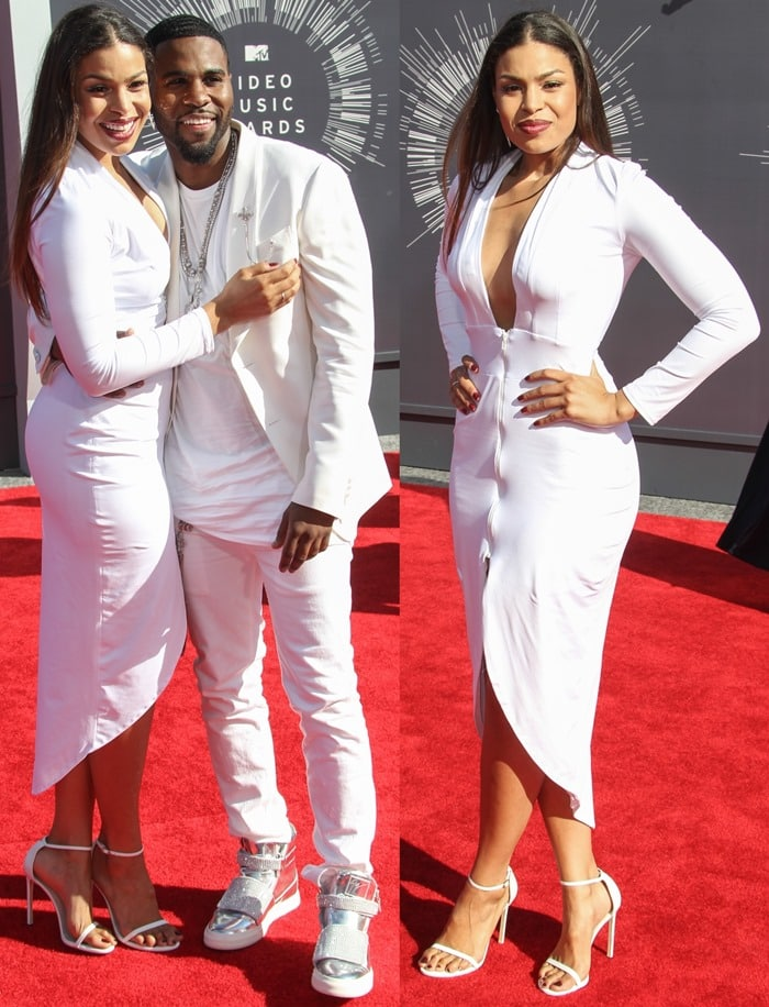 Jordin Sparks donned a white FM dress by Simply Intricate featuring a simple silhouette, a plunging neckline, and a cinched waist
