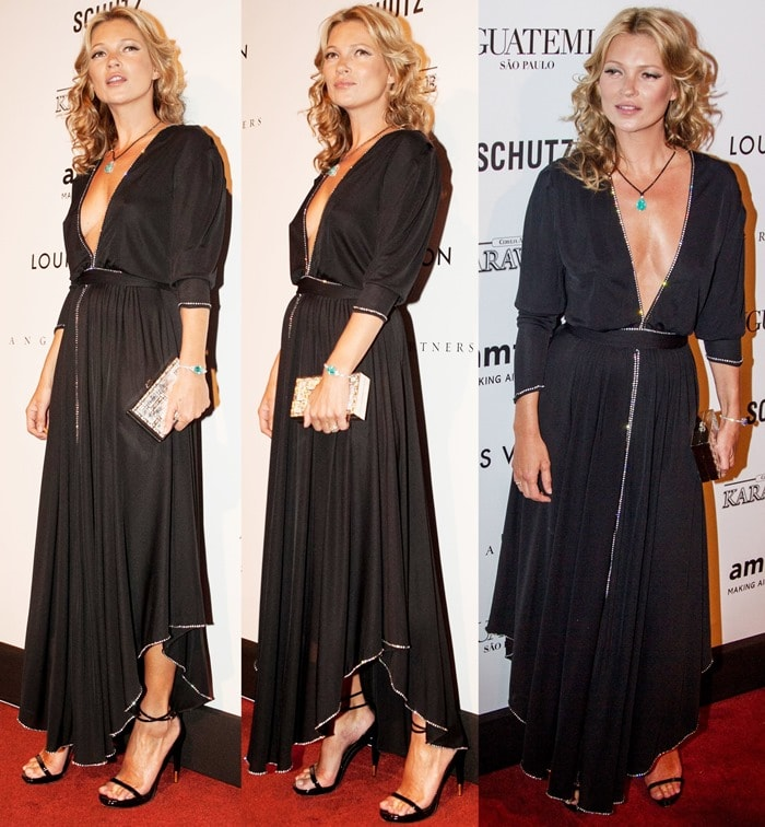 Kate Moss styled the black patent leather heels with a black vintage rhinestone-trimmed dress and accessorized with a turquoise-stone-pendant necklace and a mirrored clutch