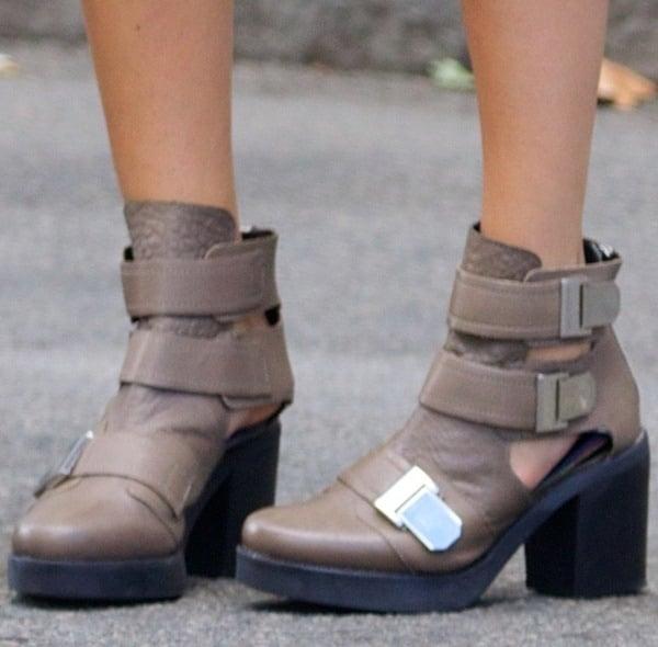Hailey Baldwin's cutout booties