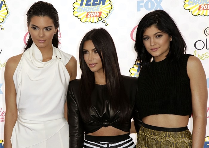 Kendall Jenner, Kim Kardashian, and Kylie Jenner at Fox's 2014 Teen Choice Awards held at the Shrine Auditorium in Los Angeles on August 10, 2014