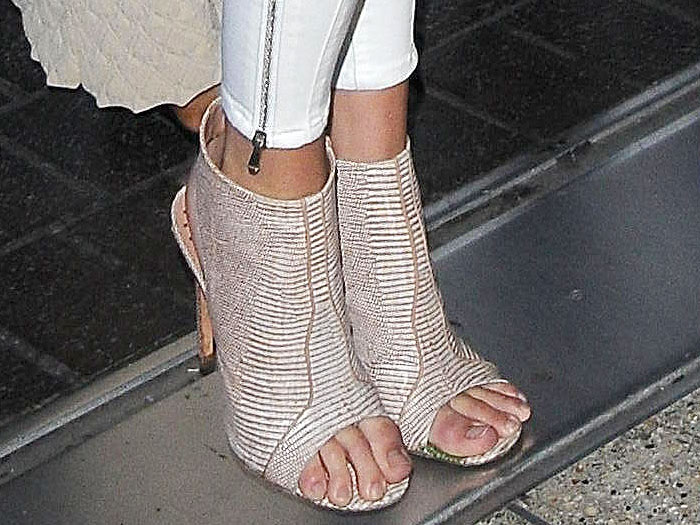 Kendall Jenner patterned open toe booties on Kendall Jenner