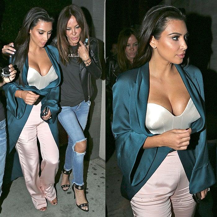 Kim Kardashian and Pussycat Dolls founder Robin Antin leaving Nobu restaurant after having dinner together