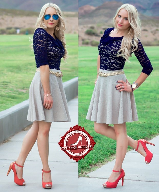 Kristyn in a feminine blue lace top with a gray skirt