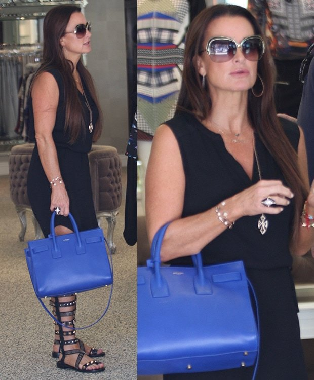 Kyle Richards filming for 'The Real Housewives of Beverly Hills' at a local boutique