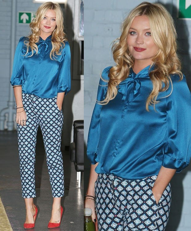 Laura Whitmore was hard to miss in a blue silk blouse and a pair of patterned trousers as she left ITV Studios after filming for 'This Morning's The Hub'
