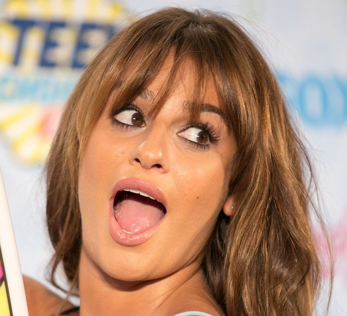 Lea Michele shows off her tongue at Fox's 2014 Teen Choice Awards