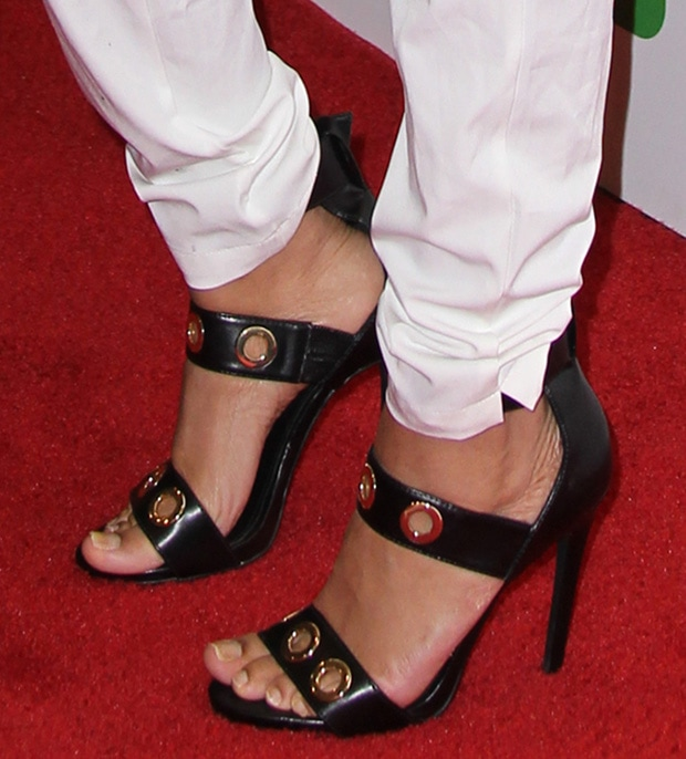 "Rounding out Lil Mama's ensemble was a pair of ""Mysterig"" sandals by Steve Madden"