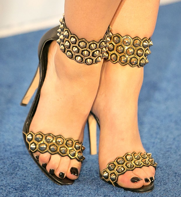 Lucy Hale wearing Brian Atwood sandals