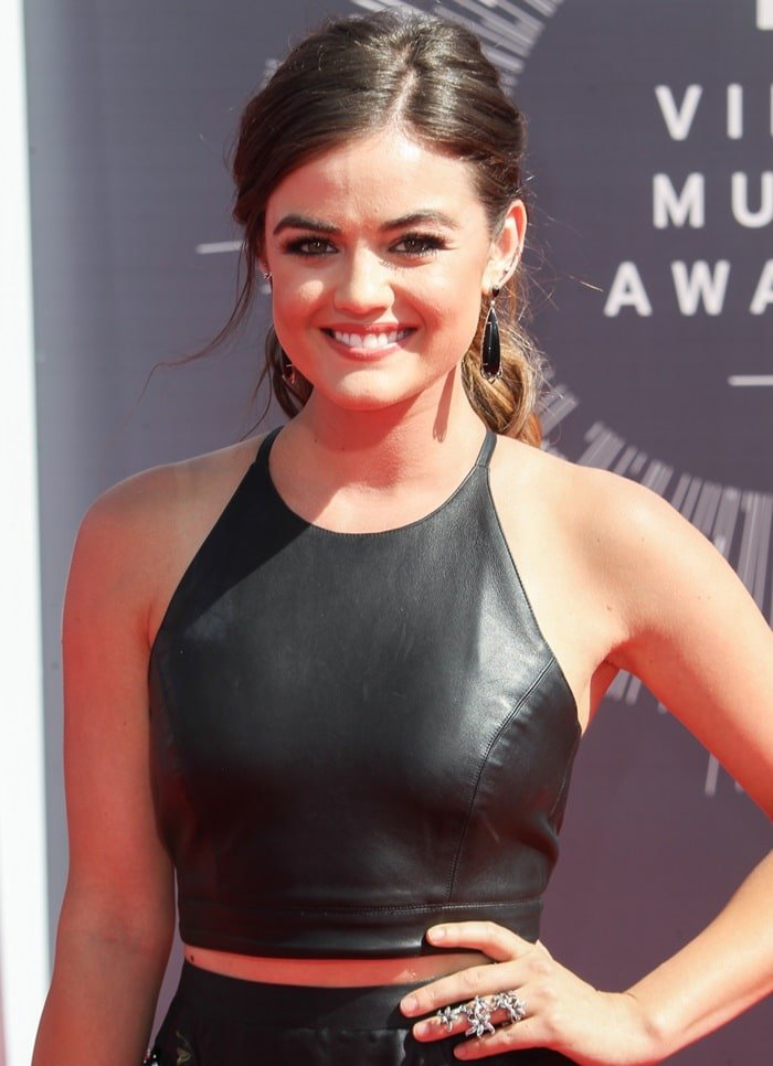 Lucy Hale at the 2014 MTV Video Music Awards at The Forum in Inglewood, California, on August 24, 2014