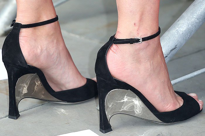 Christian Dior Fall 2014 mirror-wedge-heel suede ankle-strap sandals on Marion Cotillard