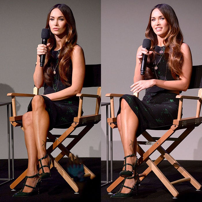 Megan Fox answering questions about her new movie, Teenage Mutant Ninja Turtles, at theMeet the Actor: Megan Fox event