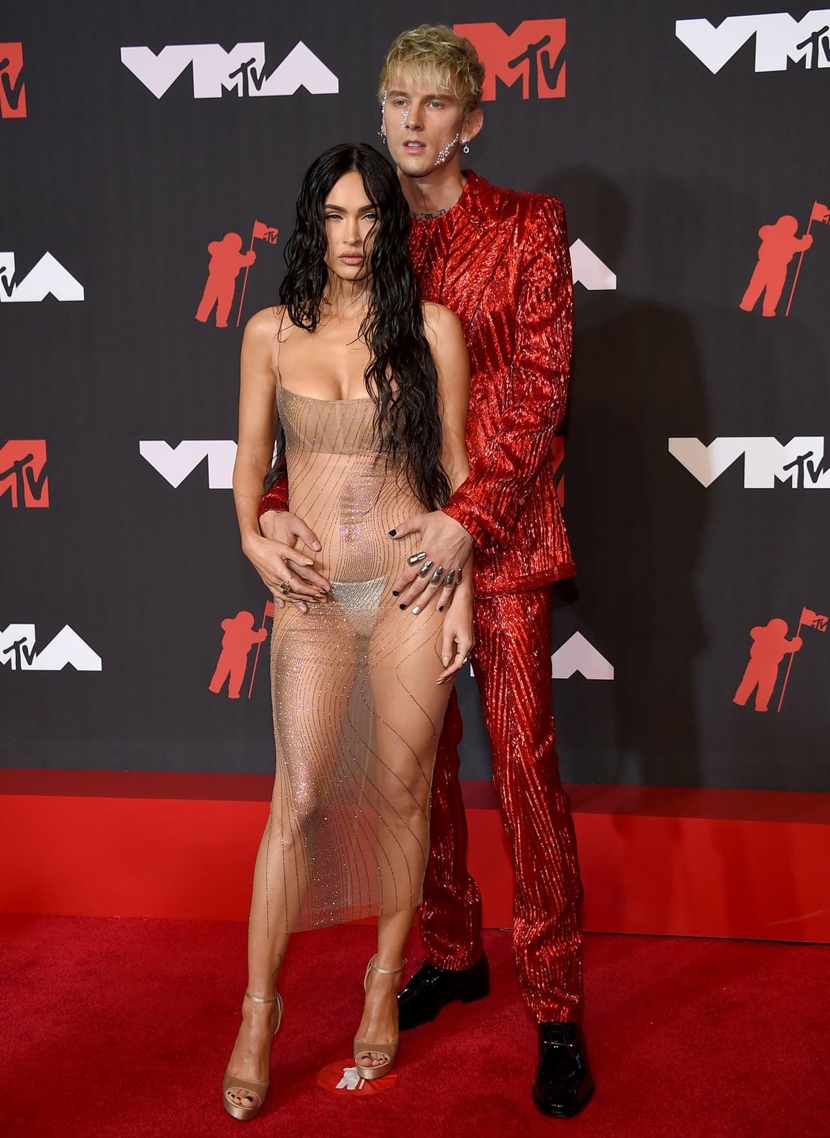 Megan Fox with her boyfriend Machine Gun Kelly at the 2021 MTV Video Music Awards