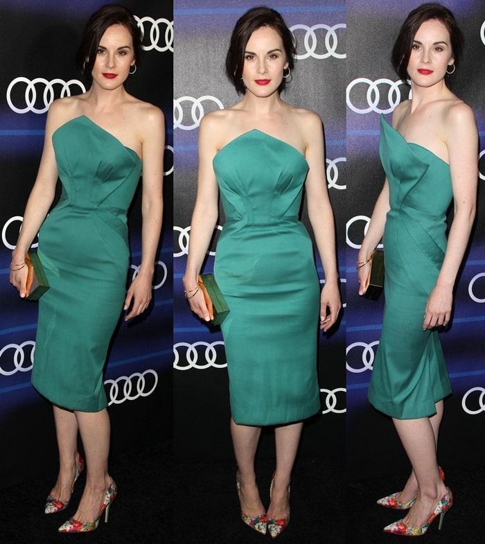 Michelle Dockery wearing astrapless emerald green Zac Posen satin dress