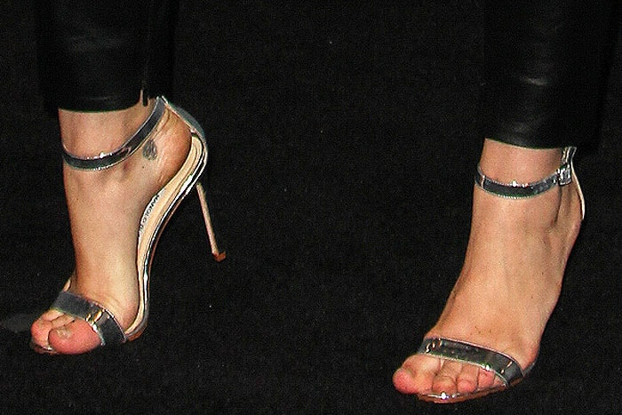 "Manolo Blahnik ""Chaos Holo"" sandals on Miley Cyrus"