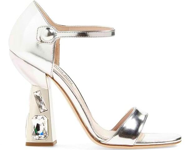 Miu Miu Jeweled-Heel Mary Jane Sandals