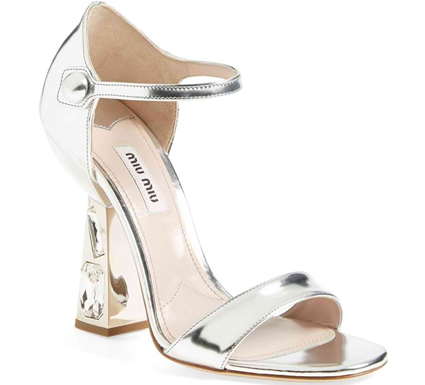 Miu Miu Jeweled-Heel Mary Jane Sandals