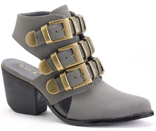 NYLA Suede Ankle Boots in Gray