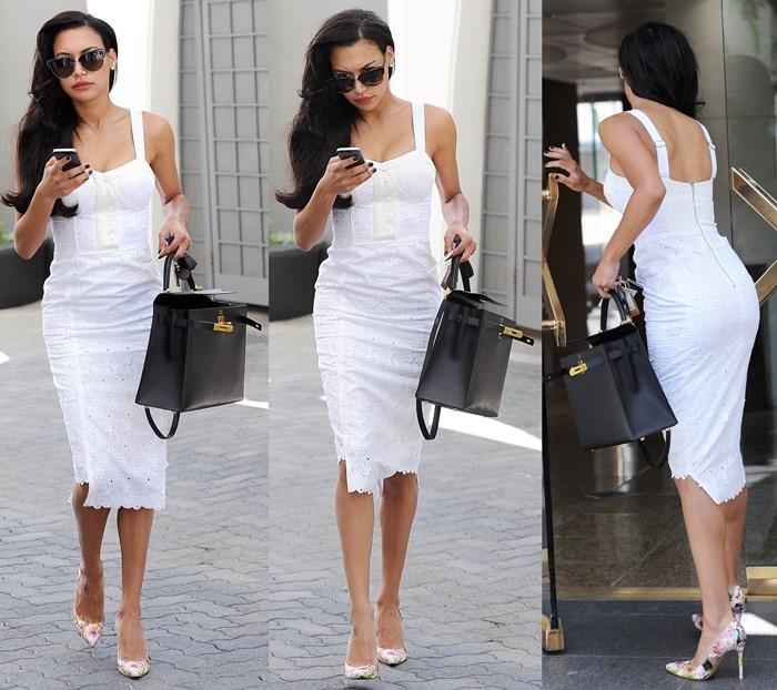 Naya Rivera flaunts her sexy legs ina sexy little white dress by Rebecca Minkoff