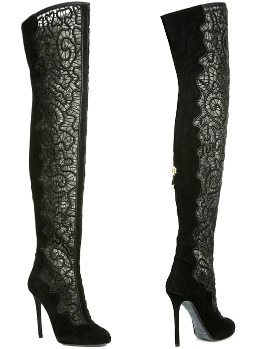 Nicholas Kirkwood Embroidered Mesh-and-Suede Over-the-Knee Boots