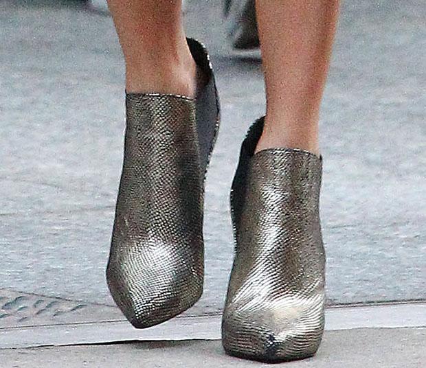 Nikki Reed wearing Saint Laurent booties
