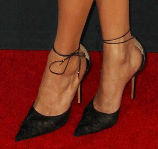 Nina Dobrev wearing Salvatore Ferragamo pumps
