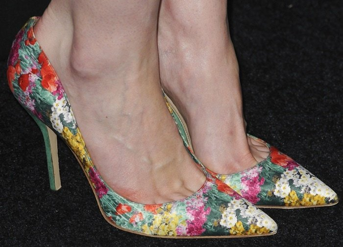 """Michelle Dockery's feet infloral pointy-toe """"Shakti"""" pumps by Paul Andrew"""