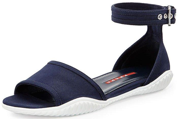 Prada Linea Rossa Gabardine Flat Sandals