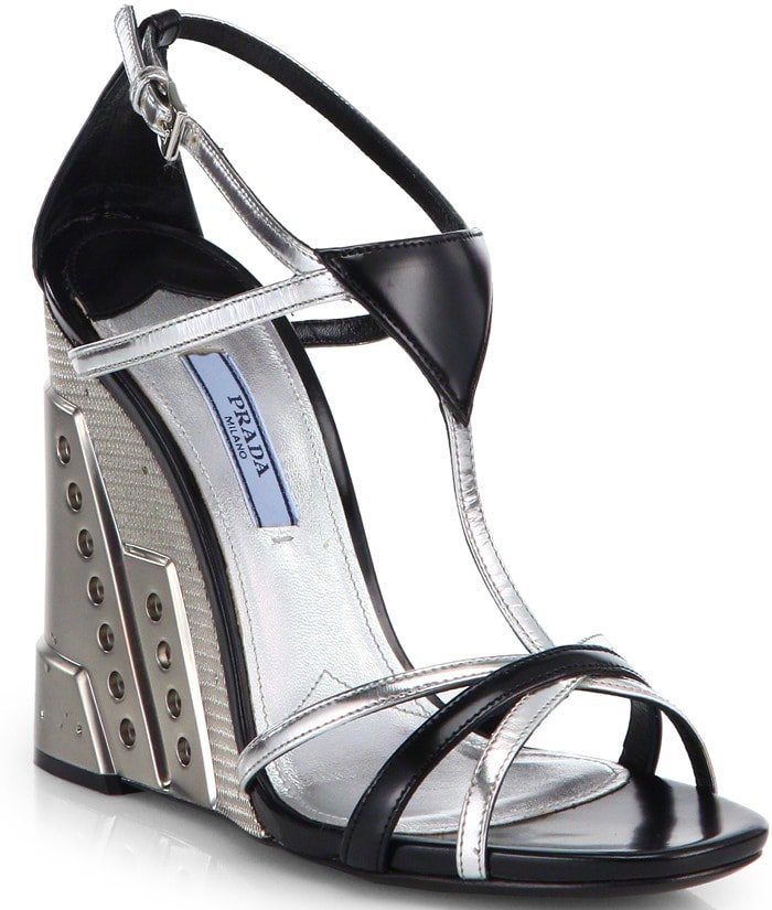 Prada Silver Leather Perforated Wedge Sandals