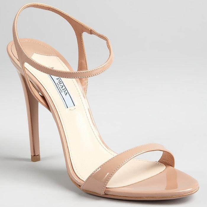 Prada nude patent ankle strap sandals