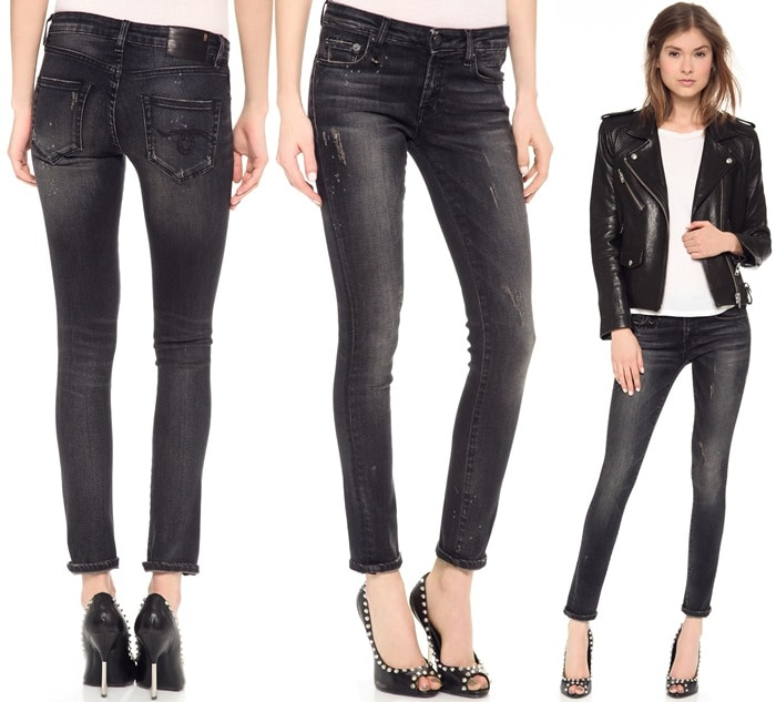 Shredded spots and bleach spatters lend a lived-in look to faded skinny jeans