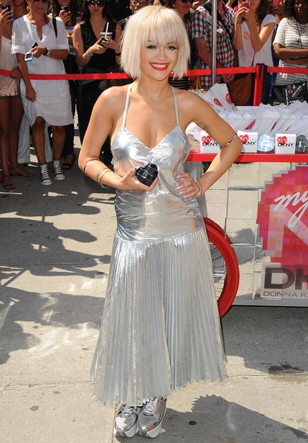 Rita Ora, however, stole the spotlight in an ultramodern silver ensemble by DKNY.